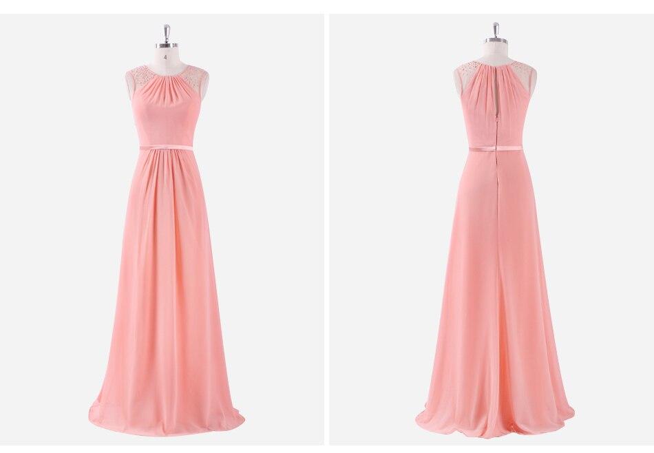 Elegant Chiffon Empire Sleeveless Lace Long Bridesmaid Dress 6
