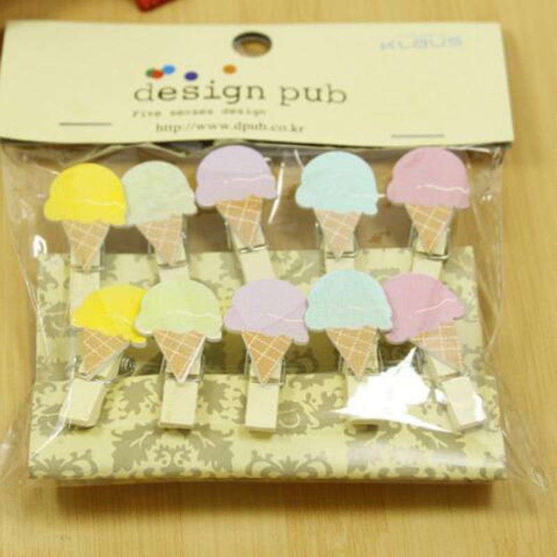 10 Pcs/Pack Creative Mini Ice Cream Wooden Clips Cute Stationery Decoration Photo Paper Craft DIY Clips With Hemp Rope