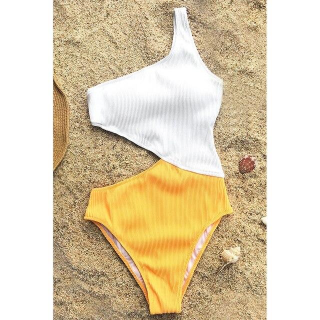5d437a484d7e4 One Shoulder One Piece Swimsuit 2018 Cut Out Swimsuit Plus Size Swimwear  Women Bathing Suits Push