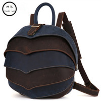 Genuine Leather Men Casual Retro Splice Backpack Casual Everyday Backpacks Day Pack Hit color Travel School Bags Notebook Bag