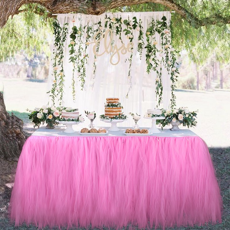 OurWarm 1pc Baby Shower Tulle Gonna tavolo rosa / bianco 100x80cm 6 colori Event Party Supplies Wedding Decoration