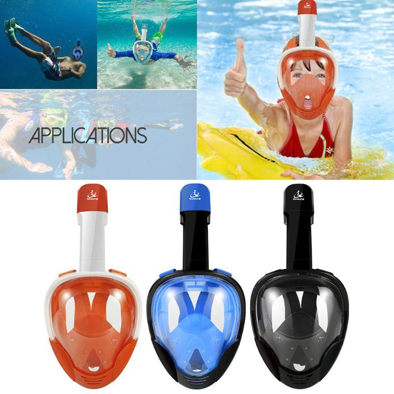 1 Set masque de plongée plein visage plongée sous-marine natation respiration facile sous-marine Anti brouillard support de montage sec pour caméra Gopro