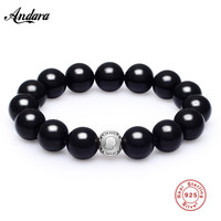 Classic Black Agates Beaded Bracelet Men 925 Silver Virgo DIY Beads Charm Bracelets Male Sterling Silver