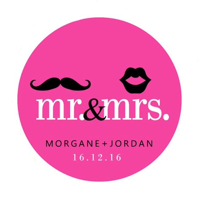 Custom Wedding Sticker Mr Mrs Mustache And Lips Personalized Stickers Labels Or Tags Customized Name Date
