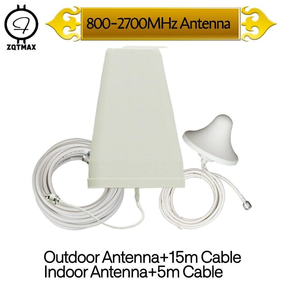 Antenne ZQTMAX Omni + antenne période logarithmique pour amplificateur de Signal cellulaire amplificateur de signal de téléphone portable LTE 2g 3g 4g 2600