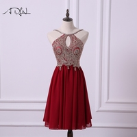ADLN Sexy Back Halter Homecoming Dress Short A Line Chiffon Bling Bling Burgundy Party Gown Knee