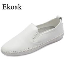 Ekoak Véritable Cuir Taille 35-43 Nouveau 2017 Classique Femmes Casual Chaussures Printemps Automne Femmes Appartements Mode Bout Rond chaussures Femme