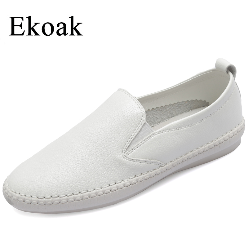 Ekoak Genuine Leather Sneakers Size 36-43 New 2018 Classic Women Casual Shoes Spring Autumn Women Flats Fashion Shoes Woman cangma original newest woman s shoes mid fashion autumn brown genuine leather sneakers women deluxe casual shoes lady flats