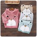 2016 versión Coreana del nuevo otoño y el invierno de los niños bebé oso con capucha de felpa gruesa capa caliente de la chaqueta niñas cardigan terciopelo