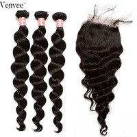 Свободные волнистые в наборе с закрытием волос 3 4 шт./лот бразильские Волосы Уток 100% человеческих волос Weave девственные пучки Venvee