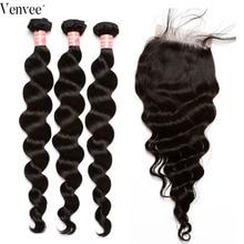 Loose Wave Bundles With Closure Hair 3 4 pcs/lot Brazilian Hair Hair Weft 100% Human Hair Weave Virgin Bundles Venvee