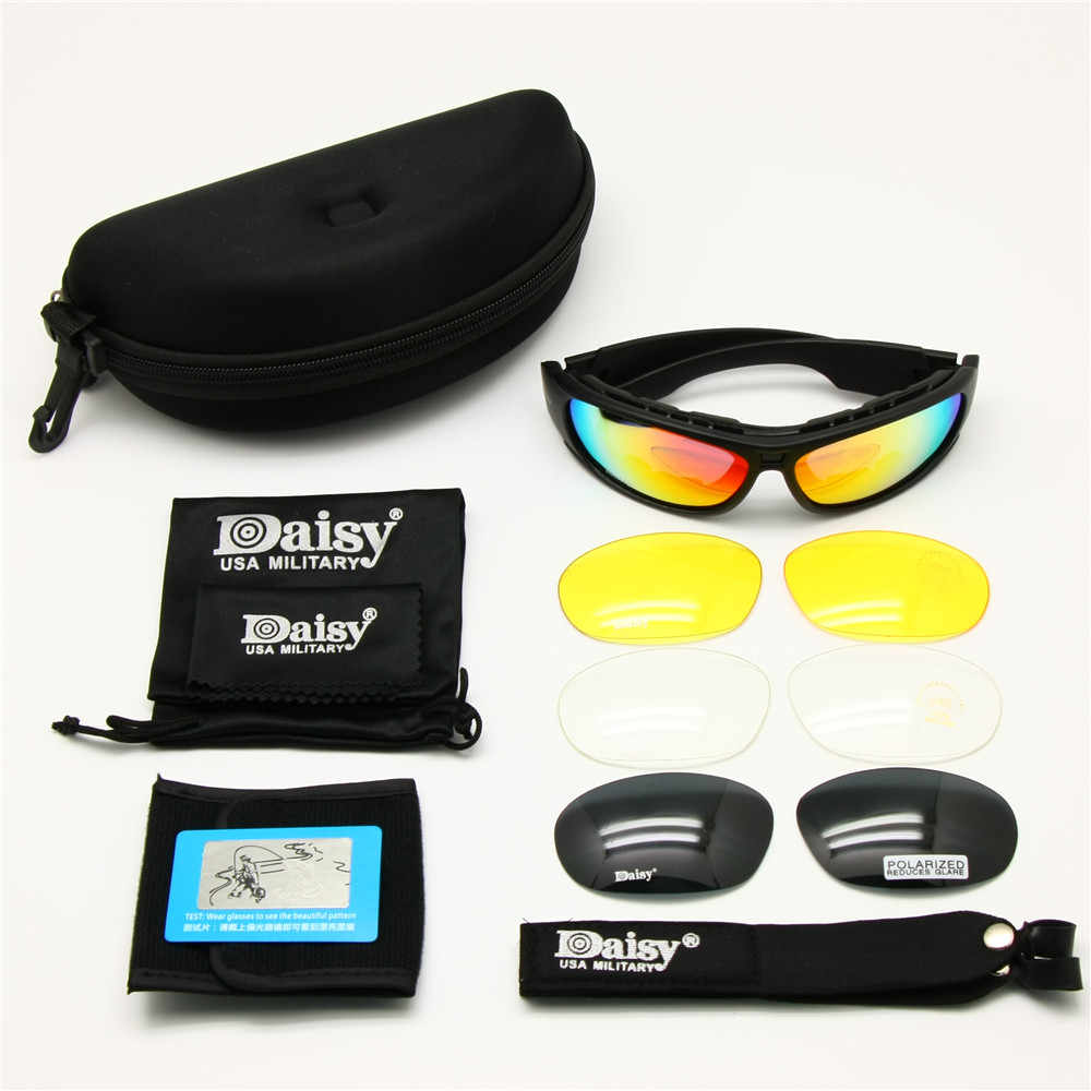 4802d5f1ec5b ... Daisy C6 Polarized Ballstic Army Sunglasses Military Goggles Rx Insert 4  Lens Kit Men Combat War