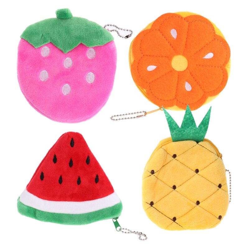 Plush Small Change Purse Fruit Slice Coin Purse Cute Wallet Money Handbag Card Holder