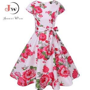 Image 2 - Print letnia sukienka damska kwiatowy krótki kimonowy rękaw sukienka Vintage z paskiem elegancka sukienka sukienka na imprezę w stylu Rockabilly Sundress Plus rozmiar