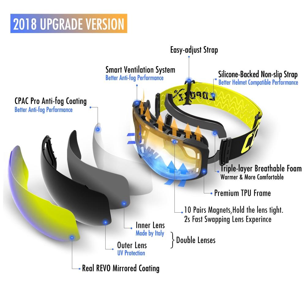 Gogle COPOZZ marki gogle wymienne soczewki magnetyczne UV400 anti-fog - Ubrania sportowe i akcesoria - Zdjęcie 4