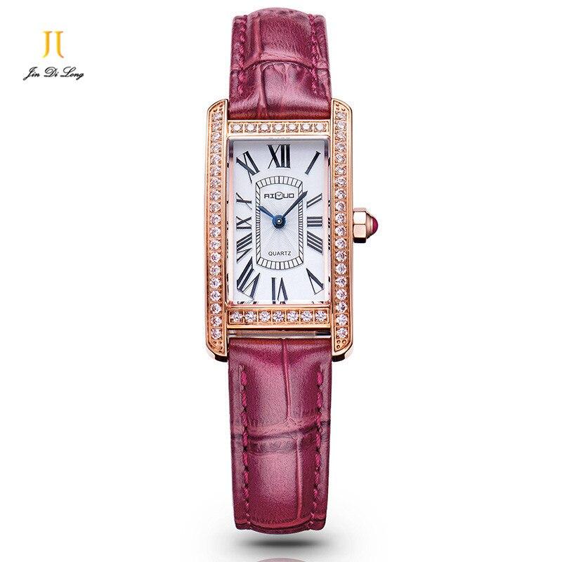 цена  Brand Luxury Retro Gold Fashion Dress Watch Women Diamond Quartz Wristwatch Leather Strap Sapphire Crystal Waterproof 50M  онлайн в 2017 году