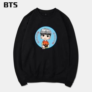 BTS O-Neck Hoodies Men Cartoon Plus Size Creative Hipster Brand Sweatshirt Anime Printing Autumn Winter Cool Boys Streetwear
