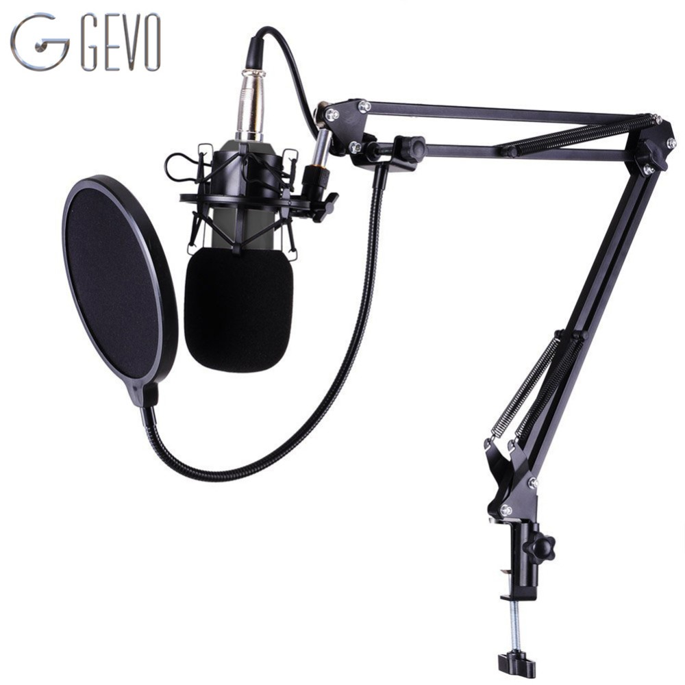 GEVO Profession Studio Broadcasting Recording Condenser Microphone Desktop Scissor Mic Stand Kit Sets XLR Cable Mounting Clamp 3 5mm jack audio condenser microphone mic studio sound recording wired microfone with stand for radio braodcasting singing