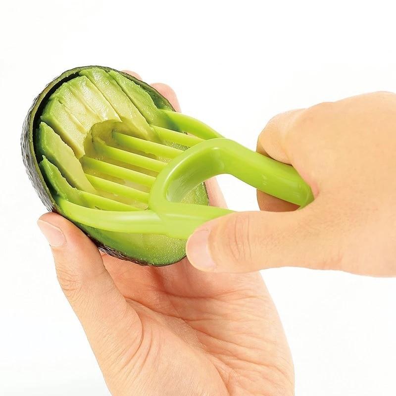 3 In 1 Avocado Slicer Shea Corer Butter Fruit Peeler Cutter Pulp Separator Plastic Knife Kitchen Vegetable Tools Kitchen Gadgets