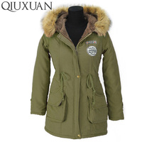Winter Warmth Jacket Coats 2016 Fashion Faux Fur Hooded Collar Casual Long Parkas Cotton Wadded Laidies