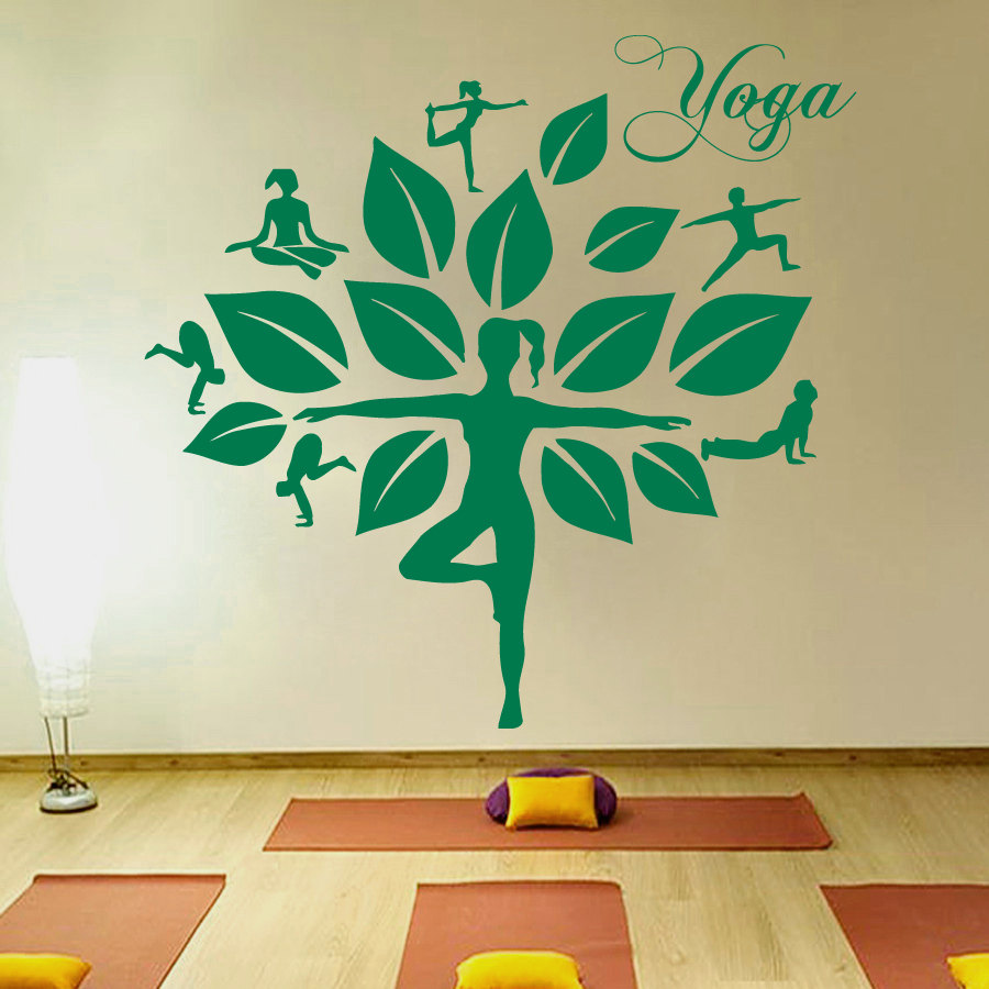 Beautiful Women Yoga Studio Wall Sticker Tree Pattern Decal Leaves - Yoga studio wall decals