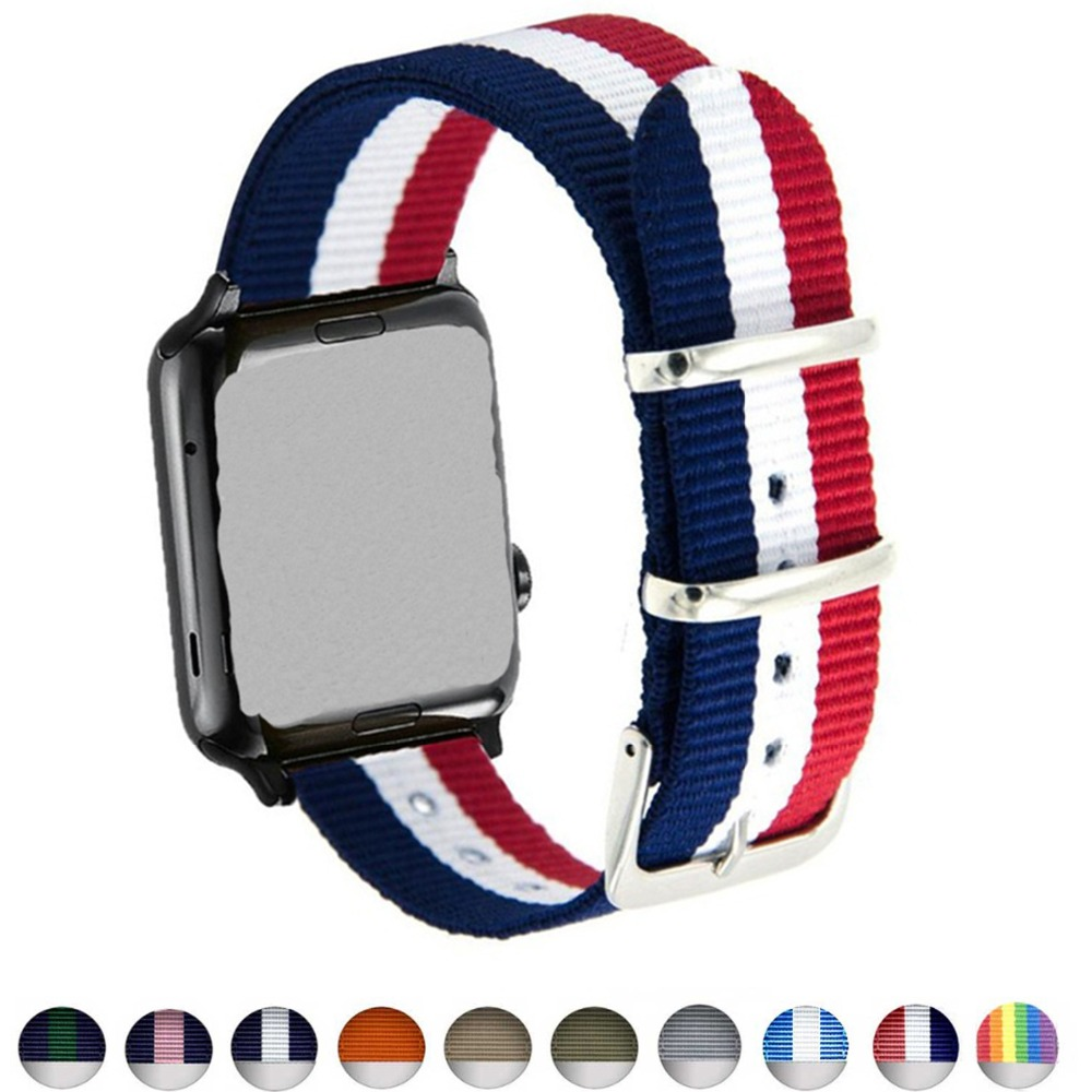 цена на Woven Nylon band for Apple watch 3 42mm 38mm Fabric-like iwatch strap 3 / 2/1 blue white red wrist nylon strap