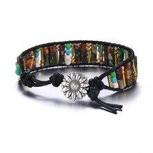 High End Square Shape King Stone Single Leather Wrap Bracelets Vintage Weaving Beaded Cuff Bracelet Dropshipping