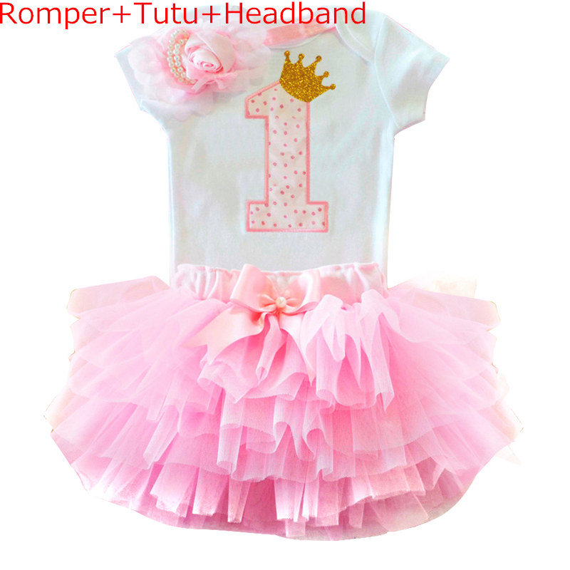 Baby Outfits Tutu-Dresses Headband Baptism-Gown Birthday-Party Toddler Newborn Girl Pink title=