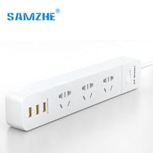 hot deal buy samzhe power strip socket portable strip plug adapter with 3 usb port multifunctional smart home electronics