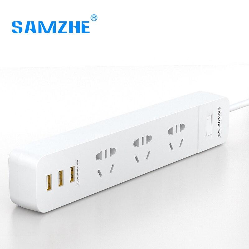SAMZHE Presa Ciabatta Striscia Portatile Plug Adapter con 3 Porta USB Multifunzionale Smart Home Elettronica