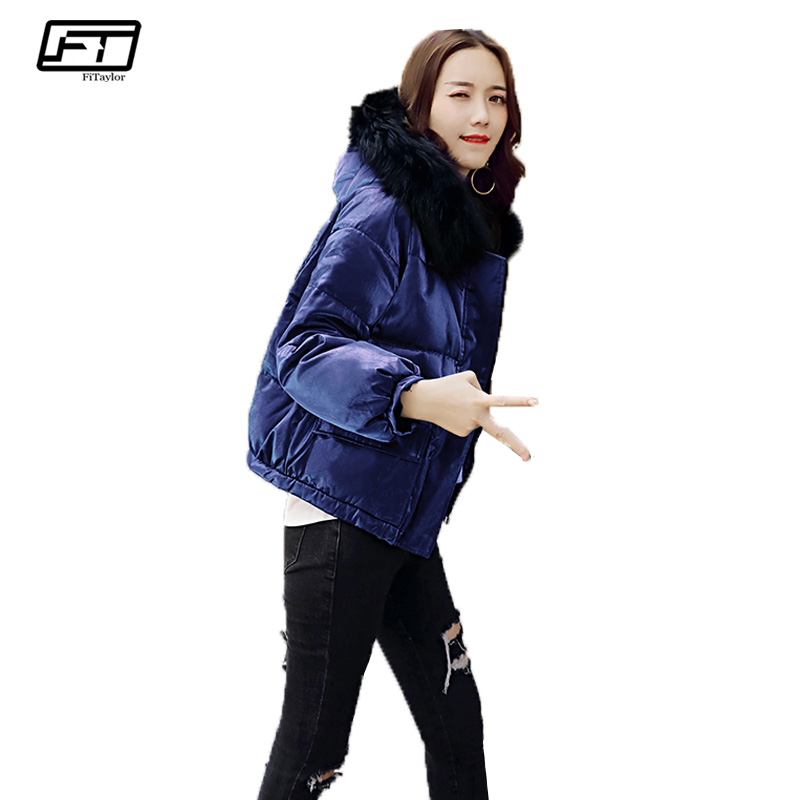 Fitaylor Hooded Black Winter Jacket Women 2017 Fur Collar Short Cotton Parkas Mujer Plus Size Loose Thick Warm Coat Femme fitaylor 2017 winter loose cotton padded coat women thick fur collar hooded parkas mujer warm jacket coat medium long overcoat
