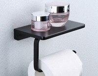 Metal Toilet Paper Holder Tissue Hanger Bathroom Rolling Phone Shelf Matte Black Color Tissue Paper Holder