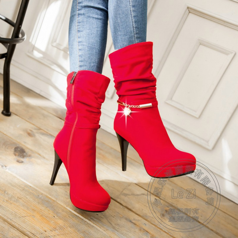 ФОТО Slip On Pleated Flock Extreme Round Toe Solid Stiletto Martins Snow Riding Boots Heels Women Winter Shoes Graceful Lady