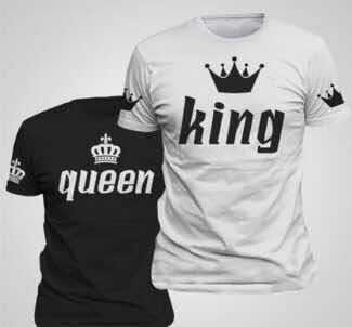King Queen T Shirt Imperial Crown Printing Couple Clothes lovers Tee Shirt Femme Summer T-shirt 2016 Casual O-neck Tops