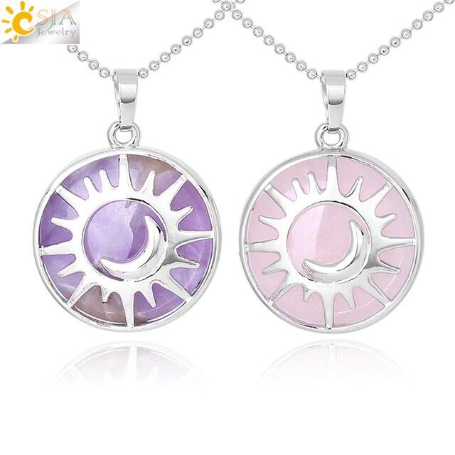 CSJA Moon Sun Necklaces Pendant Flat Bead Natural Stone Crystal Quartz Silver Color Necklace Reiki Amulet Women Men Jewelry F335