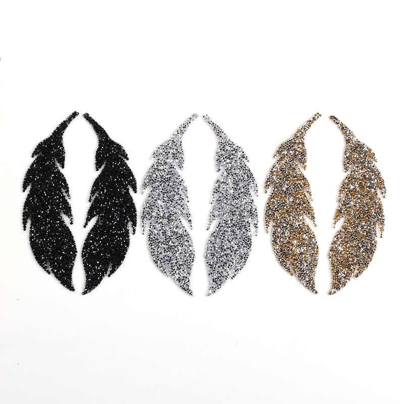 2019Rhinestones Yapraklar tüy Işlemeli Yama Demir on Dikiş Kristal Aplike Kot Giyim Süslemeleri Sticker Giyim