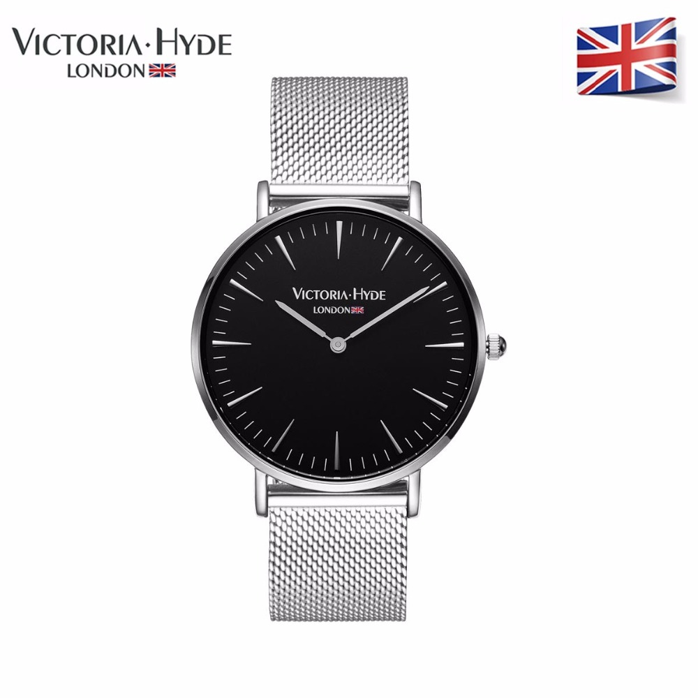 Victoria Hyde Men Watches Sliver Case Wristwatch Luxury Quartz Clock Stainless Steel Str ...