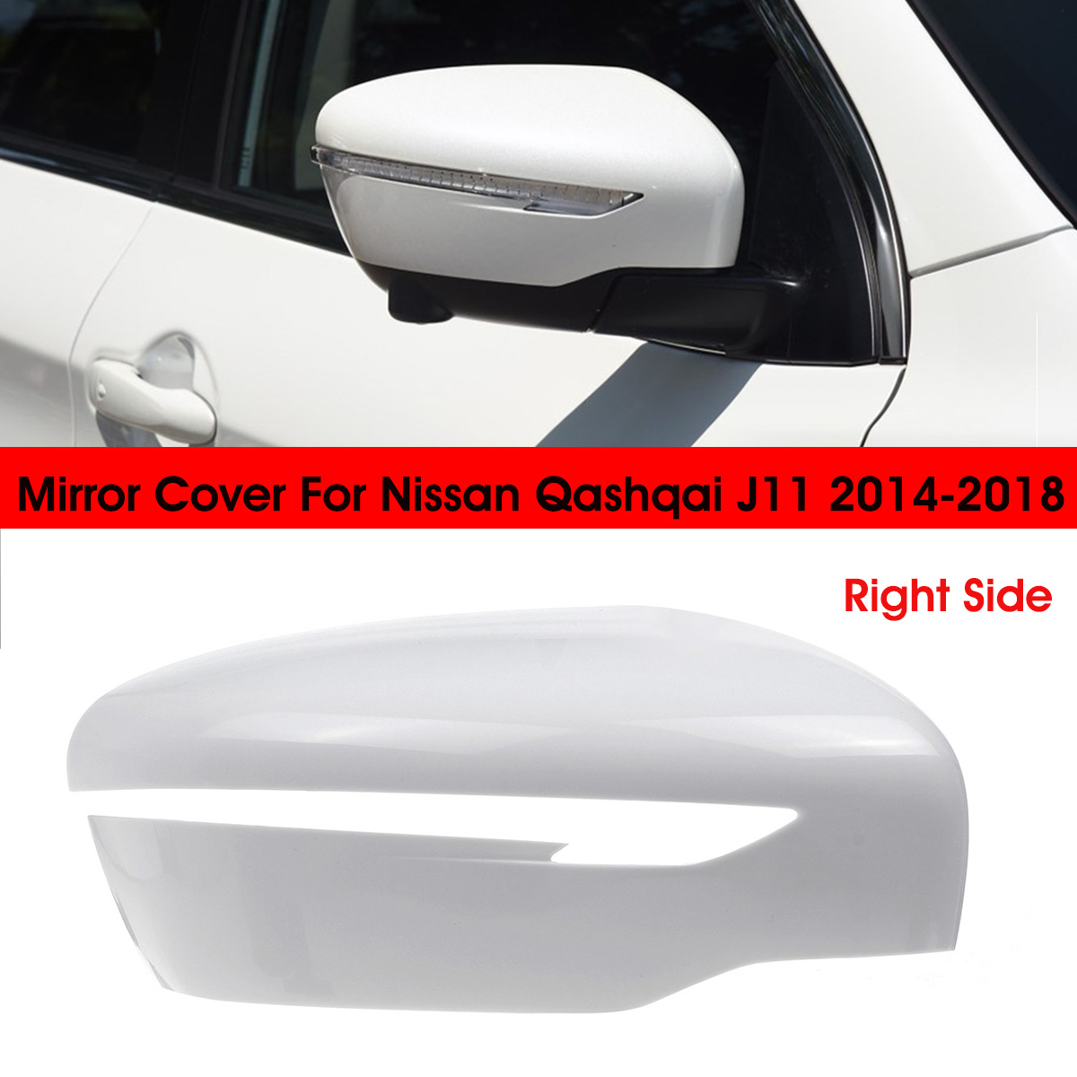 Right Side Wing Mirror Cover Cap Blakc Casing For Nissan Qashqai X-Trail
