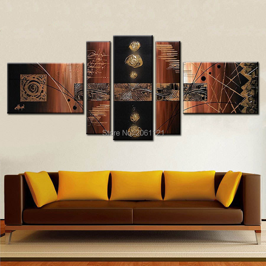 hand painted modern abstract canvas oil paintings black brown decorative modular painting home decoration art sets