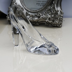 Image 2 - Crystal shoes glass slipper birthday gift home decor Cinderella High heeled shoes Wedding shoes figurines miniatures ornament