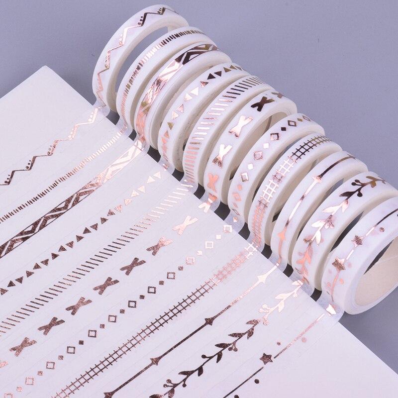 0.7-1cm*3m New Rose Gold Fine Washi Tape DIY Decoration Scrapbooking Planner Masking Tape Adhesive Tape Label Sticker