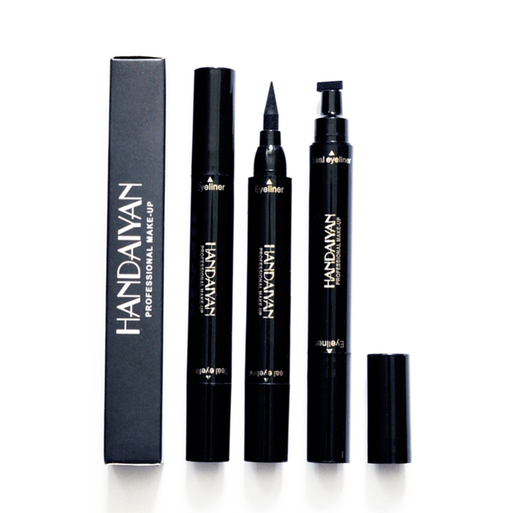Brand New Black Double-headed Eyeliner Pencil With Miss Stamp Seal Maquiagem Waterproof Liquid Wing Eye Liner Cosmetics Eyeliner Beauty Essentials
