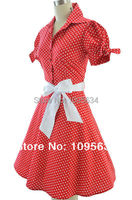 Free Shipping 50s Style RED POLKA DOT Tie Sleeve Full Skirt Rockabilly PINUP Dress With SASH