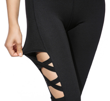 AO SHENG Latest Activewear Cross Women Leggings Black Cut Out Sexy Leggings High Waist Hollow Fitness Legging America Order