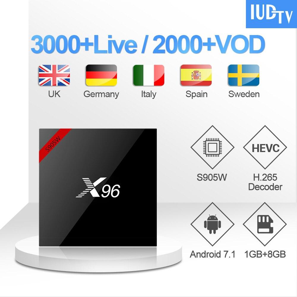 Allemagne IPTV Code X96W UK suédois IPTV abonnement S905W Android 7.1 TV Box turc grèce indien IPTV italie espagne IUDTV IP TV