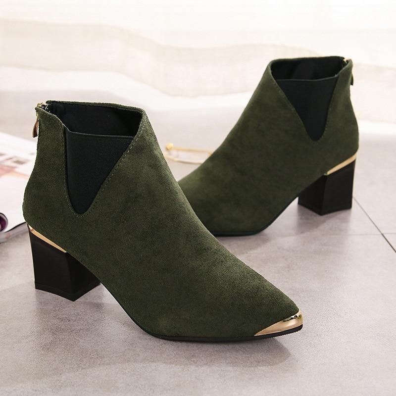 Suede Cremallera negro Band Punta F Elástico Botas Beige Deslizamiento Calzado Alta En Femeninos Militar Metal Cuero De Tobillo Sexy Calidad Mujer Genuino Zapatos verde U1vYxqAOp1