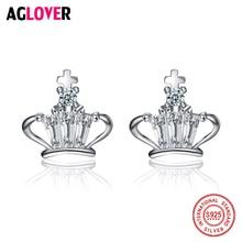 Genuine 925 Silver Woman Jewelry Crown Earrings Stud Girls Female Cross Princess White Crystal Fashion Casual Cute