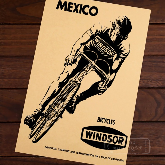 MEXICO WINDSOR BICYCLES Sports Bike Canvas Painting Retro Vintage ...