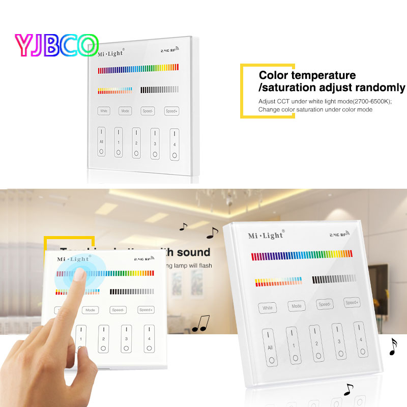 T4 milight 4 zone rgbcct smart touch panel remote controller for t4 milight 4 zone rgbcct smart touch panel remote controller for led strip light tape ribbon lamp bulbac220v in rgb controlers from lights lighting on aloadofball Gallery