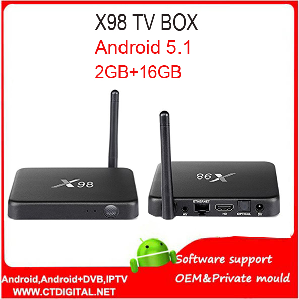 X98 Smart Android 5.1 TV Box Amlogic S905 Quad Core 2GB 16GB 2.4GHz WiFi 4K*2K Set Top Box Bluetooth4.1 Media Player Latest Codi цена